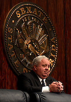 TALLAHASSEE 3/5/03-Senate President Jim King, R-Jacksonville, listens to the proceedings of the upper chamber Wednesday at the Capitol in Tallahassee.  At the request of the Florida Department of Law Enforcement King will close a meeting in which senators will be shown a new security device. King won't say what the device is, only that if the media reported on it, terrorists could learn how to disable it. COLIN HACKLEY PHOTO