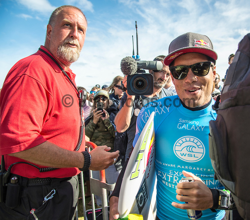 Margaret River, Western Australia (Wednesday, April 22, 2015) Adriano de Souza (BRA). – The Men's contest in the 2015 Drug Aware Margaret River Pro was wrapped up today with Adriano de Souza defeating defending former event champion John John Florence (HAW) in the 40 minute final. The surf was in the 6'-8' range at The Main break and with light  offshore winds.  De Souza now leads the world tour rankings after a 3rd at the Quiksilver Pro Gold Coast, a 2nd at the Rip Curl Pro at Bells Beach and now a 1st  at Margaret River .Photo: joliphotos.com