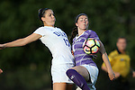 11 September 2016: Duke's Ella Stevens (17) and High Point's Taylor Romano (4). The Duke University Blue Devils hosted the High Point University Panthers at Koskinen Stadium in Durham, North Carolina in a 2016 NCAA Division I Women's Soccer match. Duke won the match 4-1.