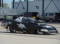 Sept. 30, 2012; Madison, IL, USA: The car of NHRA pro funny car driver Terry Haddock during the Midwest Nationals at Gateway Motorsports Park. Mandatory Credit: Mark J. Rebilas-