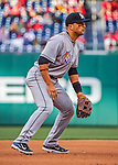 7 April 2016: Miami Marlins third baseman Martin Prado in action during the Washington Nationals Home Opening Game at Nationals Park in Washington, DC. The Marlins defeated the Nationals 6-4 in their first meeting of the 2016 MLB season. Mandatory Credit: Ed Wolfstein Photo *** RAW (NEF) Image File Available ***