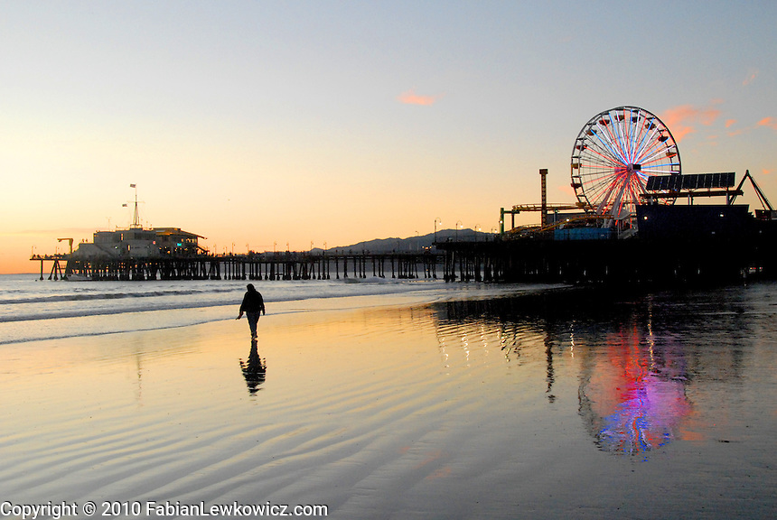 The Santa Monica Pier amid the sunset on Wednesday, October 27, 2010.