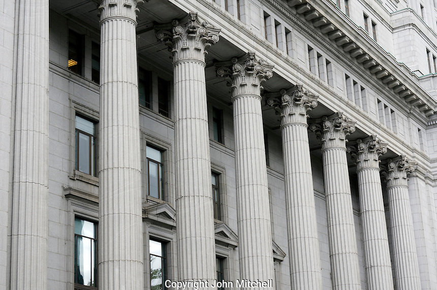 Columned facade of the historic Sun Life Building on Dorchester Square in downtown Montreal, Quebec, Canada