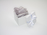 Open gift box with grey tissue and lid with bow