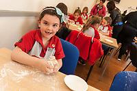 Megan Horbury (6) has fun with some dough at ASDA Newark!