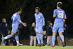01 November 2012: UNC's Danny Garcia (17) celebrates his goal with Mikey Lopez (5) and Alex Olofson (28). The University of North Carolina Tar Heels played the Boston College Eagles at Fetzer Field in Chapel Hill, North Carolina in a 2012 NCAA Division I Men's Soccer game. UNC defeated Boston College 4-0.