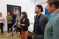 Vienna, Austria. Galerie Suppan Contemporary. Vernissage of Zico Albaiquni (Indonesia), &quot;beyond the veil&quot;.<br /> From r.: Martin Suppan, Zico Albaiquni, Dr. Melani Setiawan.