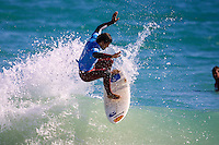 Damien Wills (AUS)..Cottesloe Beach, Perth, Western Australia, Saturday August 18 2001..A round of  The Quiksilver Airshow International Series, with $20,000 in prize-money was run today at Cottesloe Beach. The Quiksilver Airshow is the richest and most spectacular surfing event to be staged at a Perth Beach. The contest is based around the futuristic moves of aerial surfing, where each surfer  is judged on their best two aerial manoeuvres in each heat. (Photo: joliphotos.com)