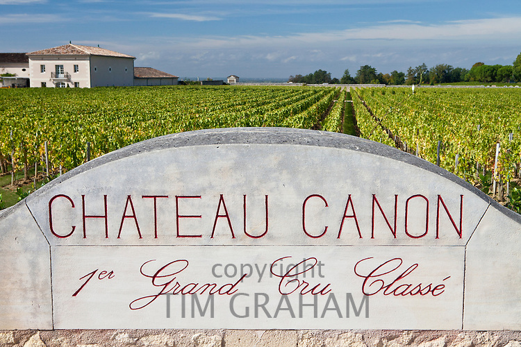 Vineyards at Chateau Canon 1er Grand Cru Classe, St Emilion in the Bordeaux wine region of France