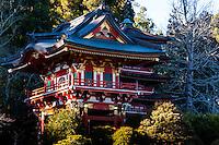 United States, California, San Francisco. Golden Gate park. The Japanese Tea Garden is the oldest public Japanese garden in the United States. Pagoda.