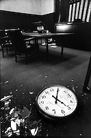 The clock at the Alameda County courthouse in Oakland, Ca  is stopped at 5:04pm the exact time the Loma Prieta Earthquake struck the San Francisco Bay Area. (photo Angela Pancrazio/Oakland Tribune)