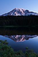 Mount Rainier at dawn from Reflection lake, Mt Rainier national park, Washington, USA
