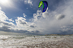 Kitesurfing action from Compton Bay on the Isle of Wight