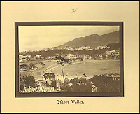 BNPS.co.uk (01202 558833)<br /> Pic: Tooveys/BNPS<br /> <br /> Happy Valley race course.<br /> <br /> A fascinating set of early images of Hong Kong long before it became the metropolis it is today have surfaced. <br /> <br /> The black and white photographs dating to the early 20th century depict a region unrecognisable to what stands today. <br /> <br /> There are several shots of natives walking down packed low-rise streets while a number of others picture primitive sailing boats. <br /> <br /> The collection was compiled by adventurous British photographer Denis H. Hazell, who took each of the 26 postcard-like photos.
