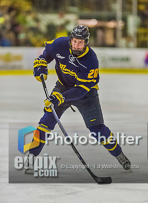 21 February 2015:  Merrimack College Warrior Forward Hampus Gustafsson, a Sophomore from Ljungby, Sweden, in third period action against the University of Vermont Catamounts at Gutterson Fieldhouse in Burlington, Vermont. The teams played to a scoreless tie as the Cats wrapped up their Hockey East regular home season. Mandatory Credit: Ed Wolfstein Photo *** RAW (NEF) Image File Available ***