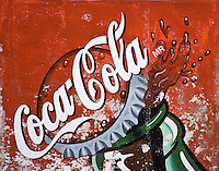 COCA COLA AD on a wall in the ghost town of MINERAL DE POZOS which is now a small artist colony and tourist destination - GUANAJUATO, MEXICO