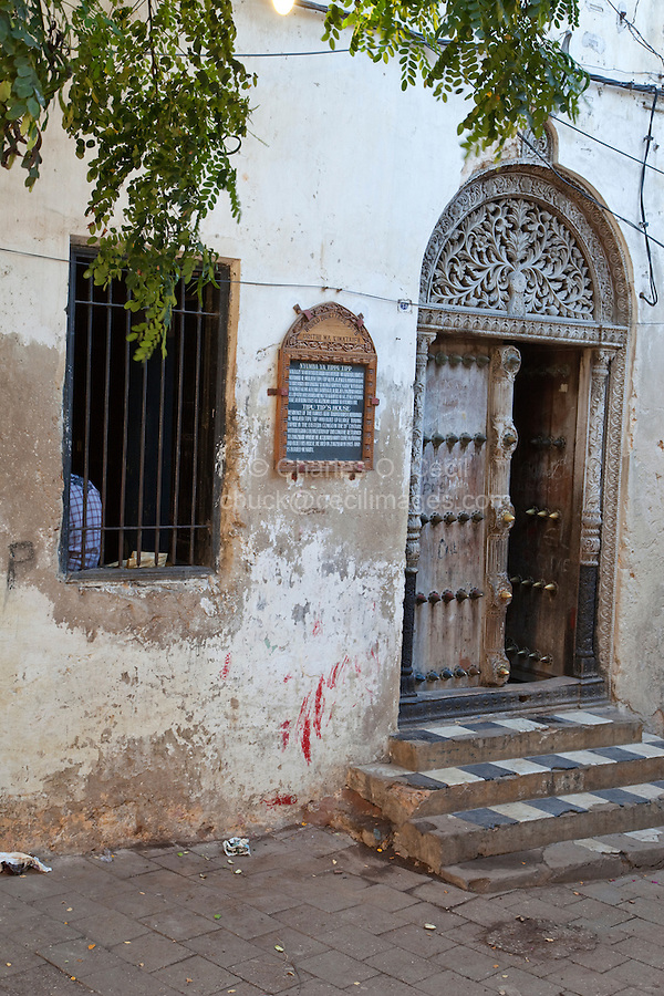 Zanzibar, Tanzania.  House of Tippu Tip, 19th Century Slave Trader.  Indian-style Carved Door, with rounded top.
