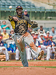22 March 2015: Pittsburgh Pirates infielder Josh Harrison throws to first base for the first  out in the bottom of the first inning of a Spring Training game against the Houston Astros at Osceola County Stadium in Kissimmee, Florida. The Astros defeated the Pirates 14-2 in Grapefruit League play. Mandatory Credit: Ed Wolfstein Photo *** RAW (NEF) Image File Available ***