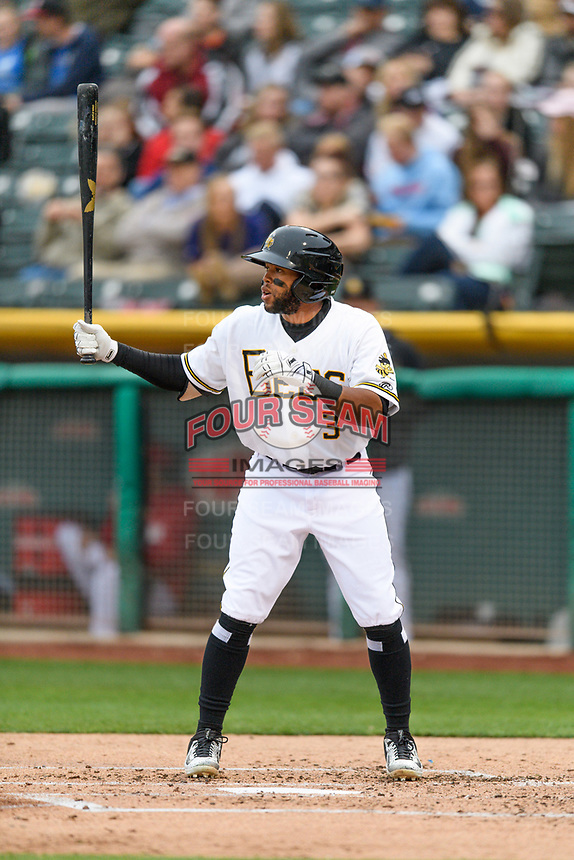 Sherman Johnson (3) of the Salt Lake Bees at bat against the Sacramento River Cats in Pacific Coast League action at Smith's Ballpark on April 11, 2017 in Salt Lake City, Utah.  The River Cats defeated the Bees 8-7. (Stephen Smith/Four Seam Images)
