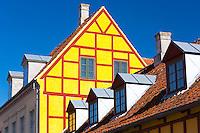 Painted building in Langegade at Kerteminde on Funen Island, Denmark
