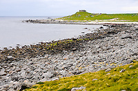 Norway, Lofoten. Eggum ligger på yttersida  og nordsida i Vestvågøy kommune. Long pebble beach. The fortification Borga on Eggum was a German radar station during the second world war.