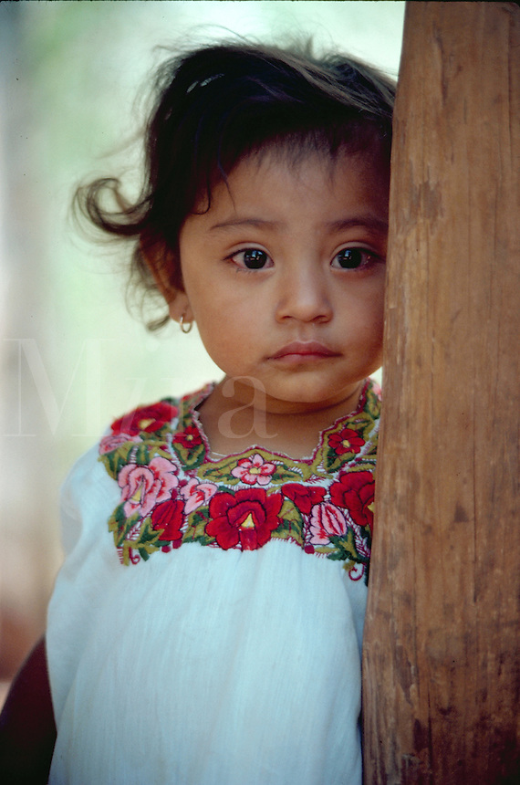 Portrait of little Mexican girl. Mexico.