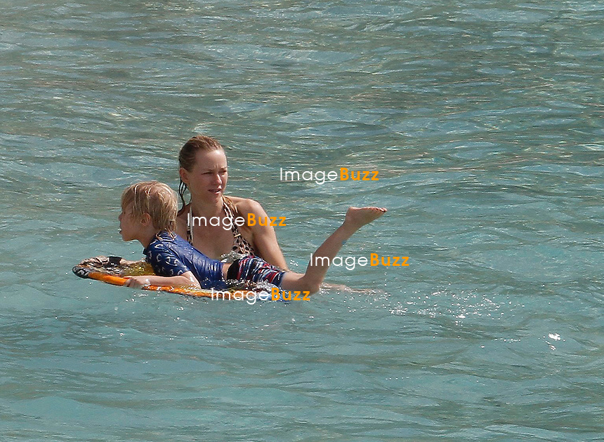 NON-EXCLUSIVE - NAOMI WATTS, LIEV SCHREIBER WITH KIDS IN ST. BARTHS - December 29,2012-St Barts (FR)-Naomi Watts, husband Liev Schreiber and their kids Samuel and Alexander on holidays in St Barts..The family rented the luxury  90 meter yacht, 'ATHENA for the price of 250.000 euros for the week!.Athena was built by Royal Huisman in 2004 and refitted in 2008. .Naomi Watts and family escaped the winter cold in New York City in favor of the warm sand and sun of St. Barths.
