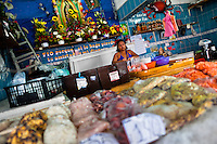 Wide variety of seafood, including shrimps, peeled mussels and chopped squid is seen for sale at the seafood and fish market in Veracruz, Mexico, 29 June 2015.