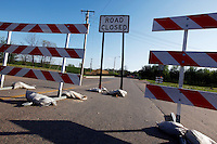 The road is closed at the corner of Second Street and North Main Street on Saturday, April 16, 2011 in Cape Girardeau, MO due to construction of the $125 million Cape Girardeau casino complex.