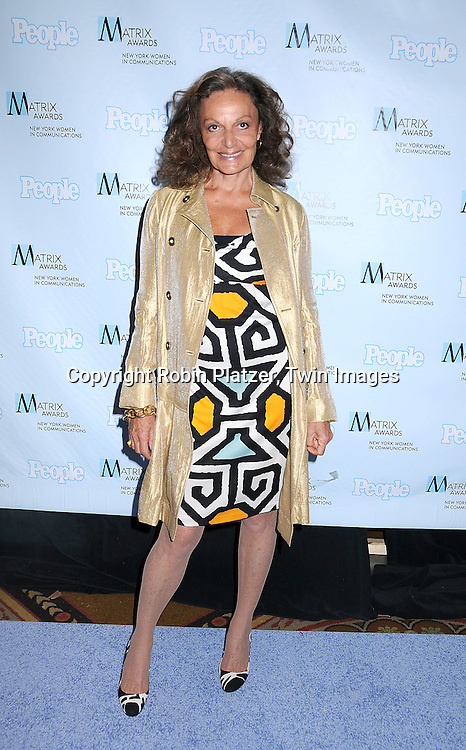 Diane Von Furstenberg.posing for photographers at The 2008 Matrix Awards on .April 7, 2008 at The Waldorf Astoria Hotel in New York. Susan Gianinno, Anna Deavere Smith, Robin Roberts, Ruth Reichl, Linda Greenhouse, Joannie Danielides, Anne Sweeney and Diane Von Furstenberg were the honorees. ..Robin Platzer, Twin Images