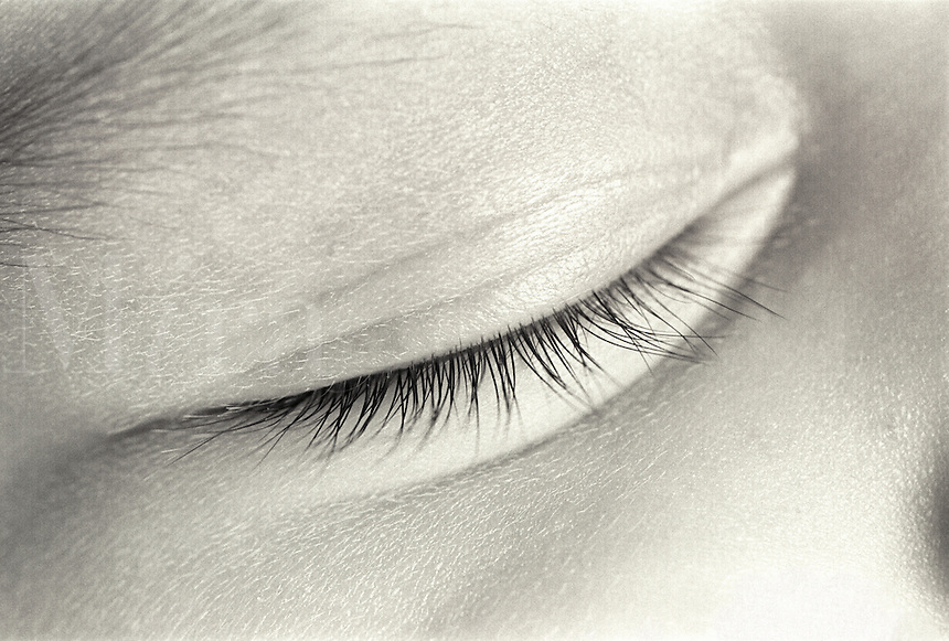 eyelash,detail of babies closed eye