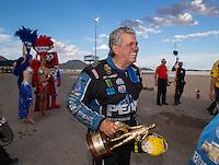 Oct 30, 2016; Las Vegas, NV, USA; NHRA funny car driver John Force celebrates after winning the Toyota Nationals at The Strip at Las Vegas Motor Speedway. Mandatory Credit: Mark J. Rebilas-USA TODAY Sports