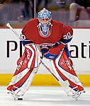 16 January 2007: Montreal Canadiens goaltender David Aebischer of Switzerland warms up prior to facing the Vancouver Canucks at the Bell Centre in Montreal, Canada. The Canucks defeated the Canadiens 4-0.