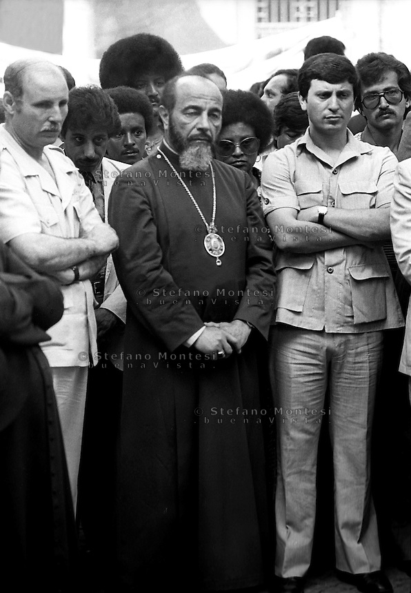 ROME, ITALY - JULY 17: The day of the funerals of Hussein Kamal and Nazyh Mattar, Palestinian leaders Palestine Liberation Organization (PLO), killed in Rome two car bombs. At the center of the photo Hilarion Capucci, archbishop of Caesarea for the Melkite Greek Catholic Church  on July 17,1982 in Rome, Italy.