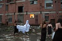 Bride poses at Old Sugar Mill, Clarksburg, California, a fun, rustic spot for wedding photos.