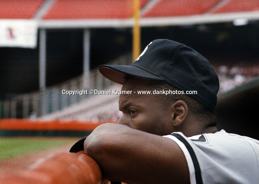 Chicago Whte Sox outfielder Bo Jackson in the Anaheim Angels dugout during a game against the Anaheim Angels in the early 1990s.