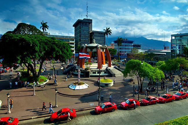 Costa Rica, San Jose, Central Park, Parque Central, Bandstand, Taxis, Central Valley
