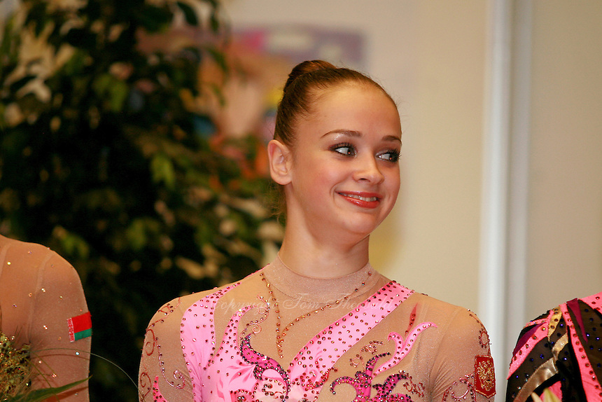 Marina Shpekt of Russia smiles during All-Around medal ceremony at Burgas Grand Prix Rhythmic Gymnastics on May 6, 2006.  (Photo by Tom Theobald)