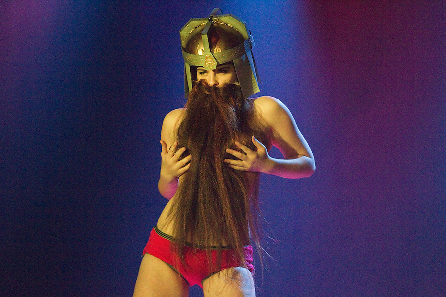 """Sophie Maltease, as a bearded dwarf performs as Gimli, from """"Lord of the Rings"""" at Geekleseque Sallies Fourth at the Star Theater in Portland."""