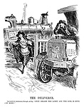 "The Deliverer. Locomotive (stationary through strike). ""Once aboard the lorry and the girl is mine — no more!"""
