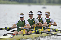 Brandenburg, GERMANY,  AUS BM4-, Bow, Bryn COUDRAYAE, Ned KINNEAR, Cameron BREWER ans Rhys GRANT, move away from the start at the 2008 FISA U23 World Rowing Championships, {idow], {date}, [Mandatory credit: Peter Spurrier Intersport Images]. Rowing Course: Brandenburg, Havel Rowing Course, Brandenburg, GERMANY