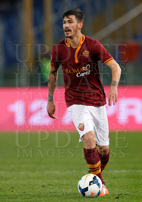 Calcio, Serie A: Roma vs Torino. Roma, stadio Olimpico, 25 marzo 2014.<br /> AS Roma defender Alessio Romagnoli in action during the Italian Serie A football match between AS Roma and Torino at Rome's Olympic stadium, 25 March 2014.<br /> UPDATE IMAGES PRESS/Riccardo De Luca
