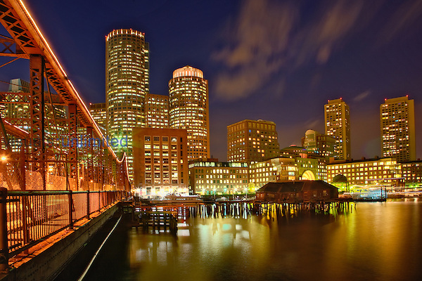 Boston Skyline at dusk, Boston, Massachusetts, USA.