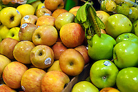 Apples, Green, Red, Fresh Fruit Produce, Grand Central Market, Downtown, Farm-fresh produce, fresh, fruits, Los Angeles CA, Public, Southern California, Fruits