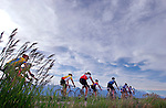 Road cyclists on Highway 22, Grand Teton National Park, Wyoming.