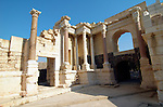 Israel, Bet Shean Roman theatre the scaenae frons an elaborate backdrop wall behind the stage, dating from the first century CE. During the Hellenistic period Bet Shean had a Greek population and was called Scythopolis. In 64 BCE it was taken by the Romans, rebuilt, and made the capital of the Decapolis, the &quot;Ten Cities&quot; of Samaria that were centers of Greco-Roman culture. The city contains the best preserved Roman theater of ancient Samaria as well as a hippodrome, cardo, and other trademarks of the Roman influence. Excavations at the cite are ongoing at the site and reveal no less than 18 successive ancient towns