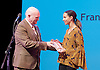 The Critics' Circle National Dance Awards 2016 <br /> at the Lilian Baylis Studio, Sadler's Wells, London, Great Britain <br /> <br /> 6th February 2017 <br /> Francesca Haywards <br /> WINNER <br /> Grishko award for best female dancer <br /> in memory of Richard Sherrington <br /> <br /> receives award from Graham Watts - Chairman <br /> <br /> Photograph by Elliott Franks <br /> Image licensed to Elliott Franks Photography Services