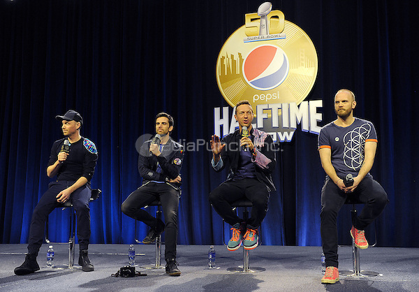 SAN FRANCISCO, CA - FEBRUARY 4: (L-R) Jonny Buckland, Guy Berryman, Chris Martin and Will Champion of Coldplay at the press conference for the Super Bowl 50 Halftime at the Moscone Center on February 4, 2016 in San Francisco, California. Credit: PGFM/MediaPunch