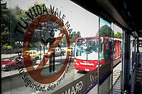 A bus of the massive public transportation know as TRANSMILENIO is seen at a station in Bogota, Colombia.  05/15/2015. Eduardo MunozAlvarez/VIEWpress
