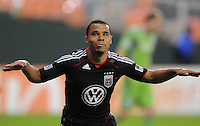 DC United forward Charlie Davies (9) celebrates his score in the 52th minute of the game.  DC United defeated The Seattle Sounders 2-1, at RFK Stadium, Wednesday  May 4, 2011.